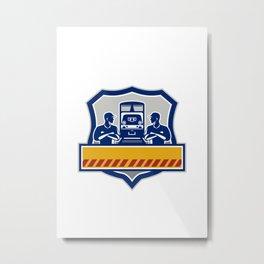 Train Engineers Arms Crossed Diesel Train Crest Retro Metal Print