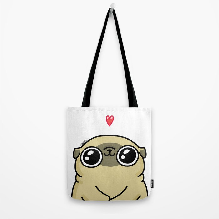 Mochi the pug loves you Tote Bag