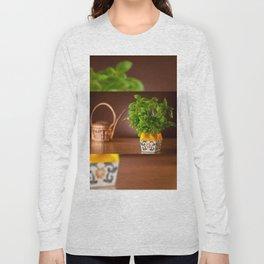 Ocimum basil plant in decorative flowerpot Long Sleeve T-shirt