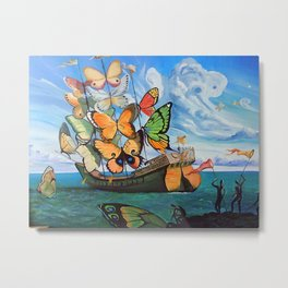 Salvador Dalí - Ship with butterfly sails Metal Print