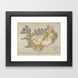 Vintage Geological Map of Iceland (1901) Framed Art Print