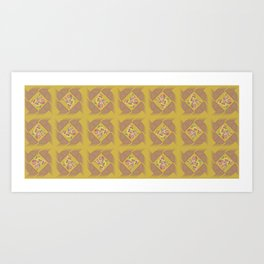 Wheat Check in Mustard Art Print