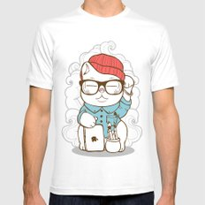 Hipster Kitty White SMALL Mens Fitted Tee