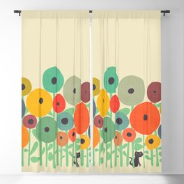 Cat in flower garden Blackout Curtain