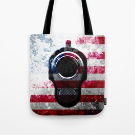 M1911 Colt 45 and American Flag on Distressed Metal Tote Bag