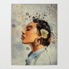 Watercolor whimsical digital portrait painting Poster