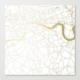 White on Yellow Gold London Street Map Canvas Print