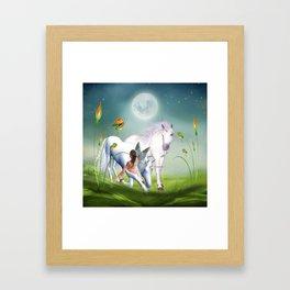 Einhorn und Fee - Unicorn and Fairy Framed Art Print