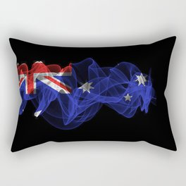 Australia Smoke Flag on Black Background, Australia flag Rectangular Pillow