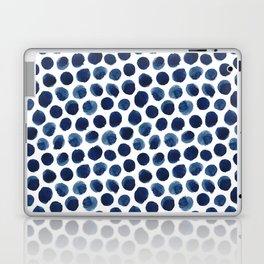 Large Indigo/Blue Watercolor Polka Dot Pattern Laptop & iPad Skin