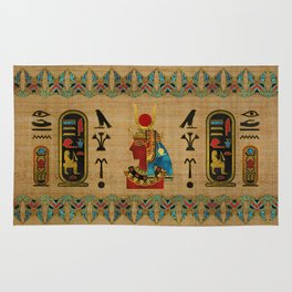 Hathor Egyptian Ornament on papyrus Rug