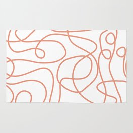 Doodle Line Art | Coral Lines on White Background Rug
