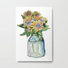 Watercolor Sunflower Vase Metal Print