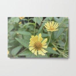 Yellow Vintage Flowers Metal Print