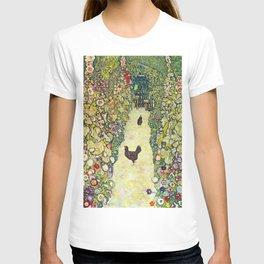 """Gustav Klimt """"Garden Path with Chickens"""" T-shirt"""