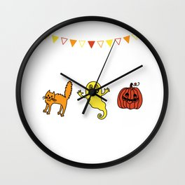 Happy Halloween Doodle Pumpkin Face Ghost Wall Clock