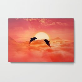 flying dolphins sunset Metal Print