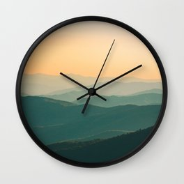 Landscape Photography Teal Turquoise Green Parallax Mountains Hills Orange Sunset Sky Minimalist Pho Wall Clock