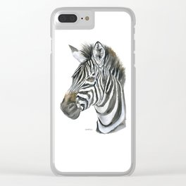 Zebra Watercolor Painting - African Animal Painting Wildlife Head Bust Clear iPhone Case