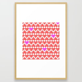 Hearts (pixel pattern) Framed Art Print