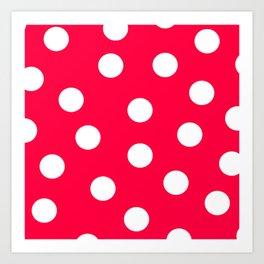 Polka Dots - Electric Crimson and White Art Print