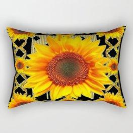 Italian Style Art Deco Golden Sunflower Art Rectangular Pillow