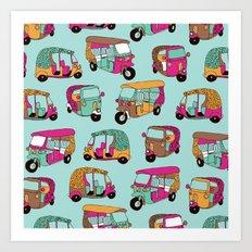 India rickshaw illustration pattern Art Print