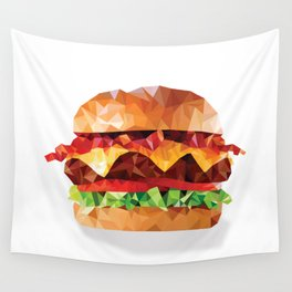 Geometric Bacon Cheeseburger Wall Tapestry
