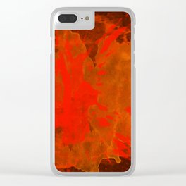 Mosaic Grunge in Orange Clear iPhone Case