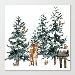 Christmas Winter Wonderland Fawn Canvas Print