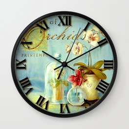 016 Wall Clock Glass and Orchids Flowers Wall Clock
