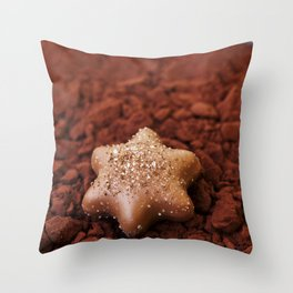 Chocolate Star and Cocoa Throw Pillow