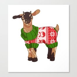 Toasted S'more Christmas Sweater Goat Canvas Print