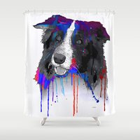 border collie Shower Curtains featuring Border Collie by Marlene Watson