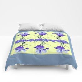 PURPLE WHITE IRIS & PANSIES GARDEN Comforters