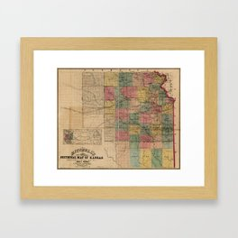 Mitchell's Sectional Map of Kansas (1859) Framed Art Print