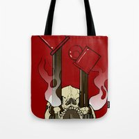 pocket fuel Tote Bags featuring Skull Fuel by Allbrotnar