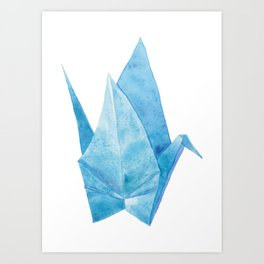 Blue Origami Paper Crane (watercolour) Art Print