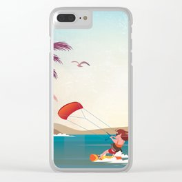 Kite surfer Woman Theme Clear iPhone Case