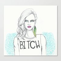 bitch Canvas Prints featuring bitch by Guadalupe Jiménez