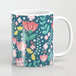 Flower Lovers - Dark Blue Coffee Mug