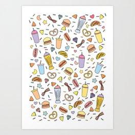 Fast food & Shakes Art Print