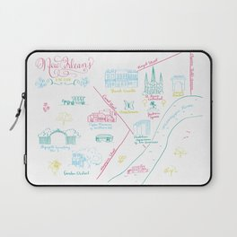 New Orleans, Louisiana Illustrated Calligraphy Map Laptop Sleeve
