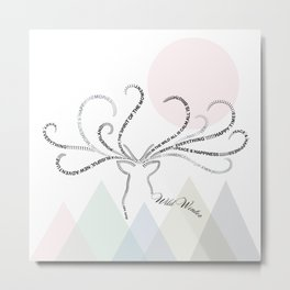 Abstrac Typographic Reindeer in The Mountains Metal Print