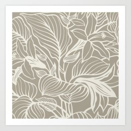 Gray Grey Alabaster Floral Art Print