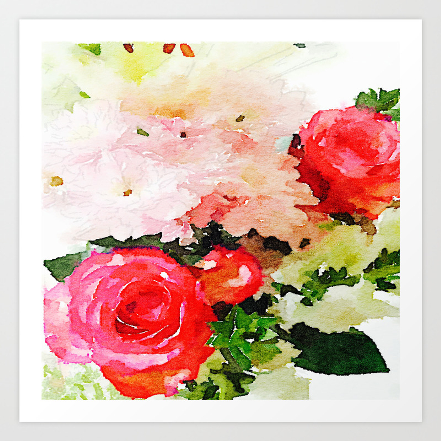 Garden Roses Watercolor Art Print By Melissapolomsky Society6