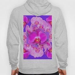 Purple & Fuchsia Pink Butterfly Orchids On Purple Art Hoody