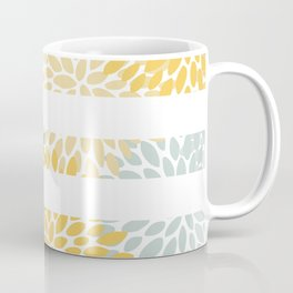 Stripe, Floral, Pattern, Yellow, Pale, Aqua, Blue and Gray Coffee Mug