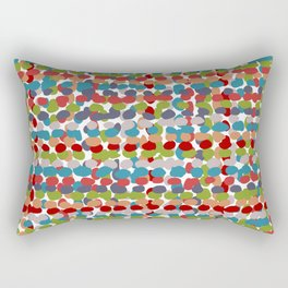 Speckled, Colorful Abstract Dot Pattern, Red, Blue, Green, Orange Rectangular Pillow