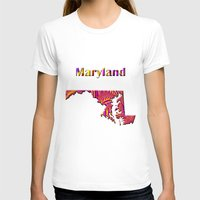 maryland T-shirts featuring Maryland Map by Roger Wedegis